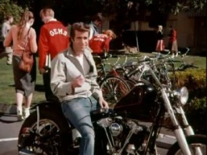 what kind of motorcycle did Fonzie ride - harley-davidson - www.MotorbikeLicense.com