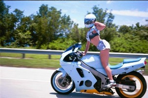 Motorcycle Squid Slang - About Squid Motorcycle Riders - girl flashing - www.MotorbikeLicense.com